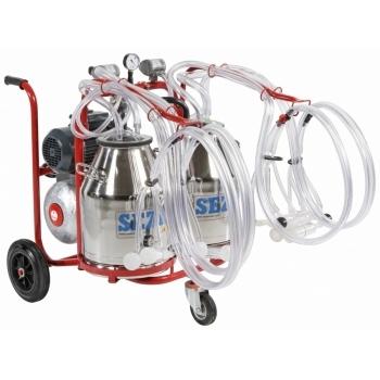 Aparat de muls oi/capre PLS4/2 Lux, 4 posturi, 2 bidoane inox 30L, pompa vid uscata fara ungere, pulsator pneumatic cu filtru aer, tanc vacuum, autospalare, productivitate 140 oi/72 capre/ora