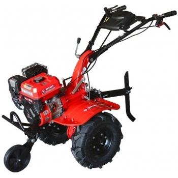 Motosapa Rotakt RO100S cu roti de cauciuc, benzina, putere 7 Cp, latime de lucru 56-105 cm, pornire la sfoara, 2 viteze inainte + 1 inapoi