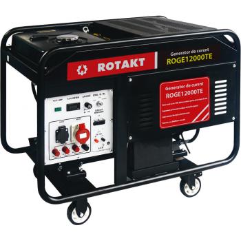 Generator de curent Rotakt ROGE12000TE, trifazic, 10 kW, benzina, putere motor 20 Cp, tensiune 230/380 V, pornire electrica, AVR inclus